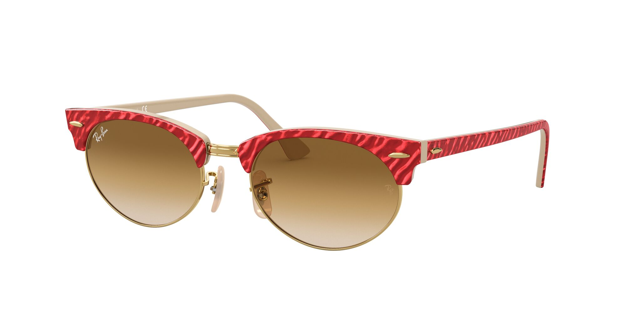 Angle_Left01 Ray-Ban Ray-Ban 0RB3946 130851 51/19 Rood, Beige/Bruin