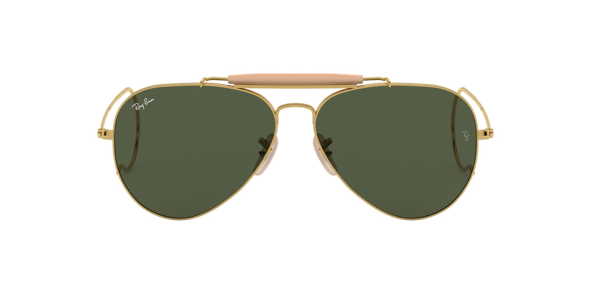 Front Ray-Ban Ray-Ban RB3030 L0216 58/14 Goud/Groen