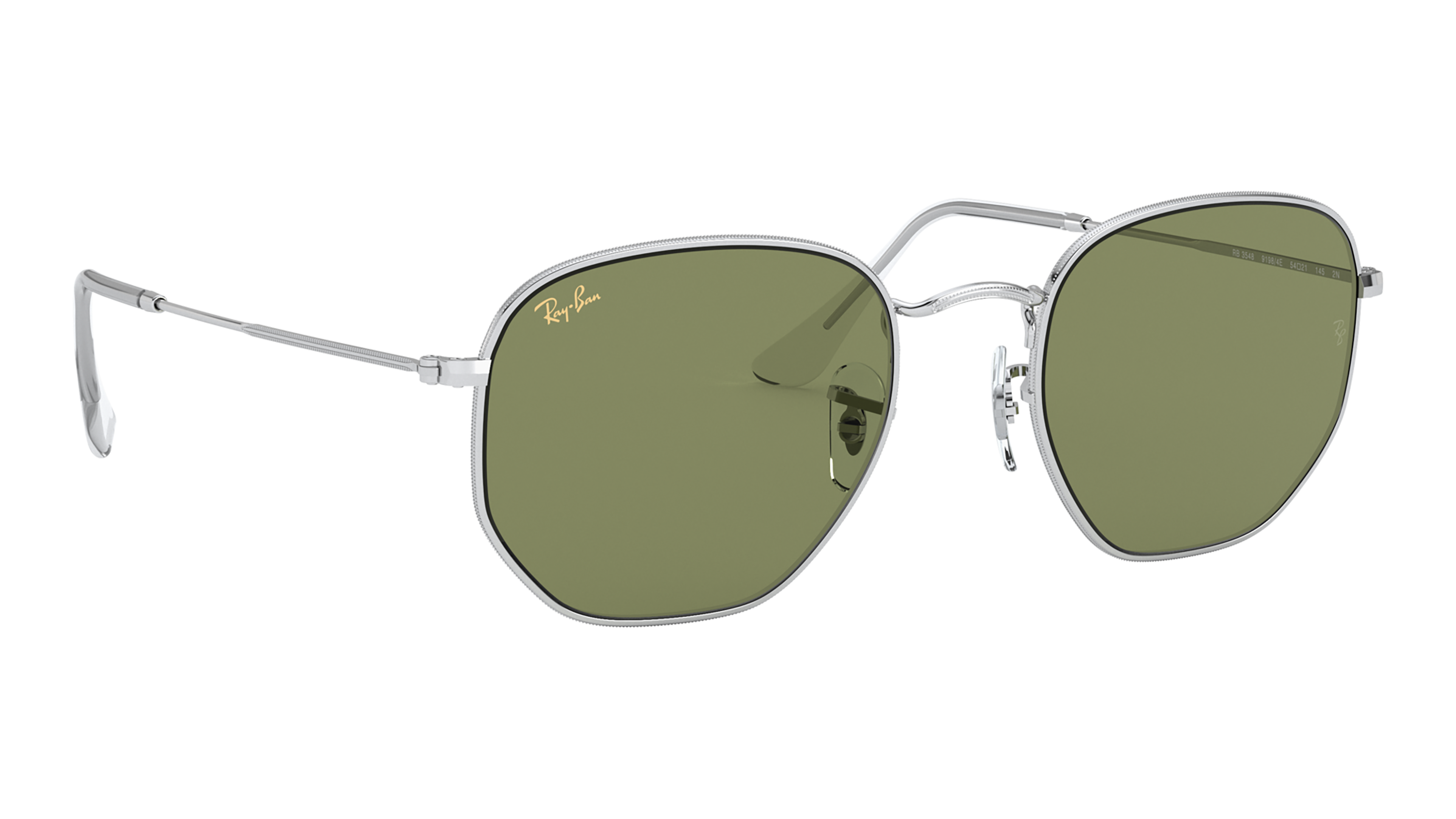 Angle_Right02 Ray-Ban Ray-Ban 0RB3548 91984E 54/21 Zilver/Groen