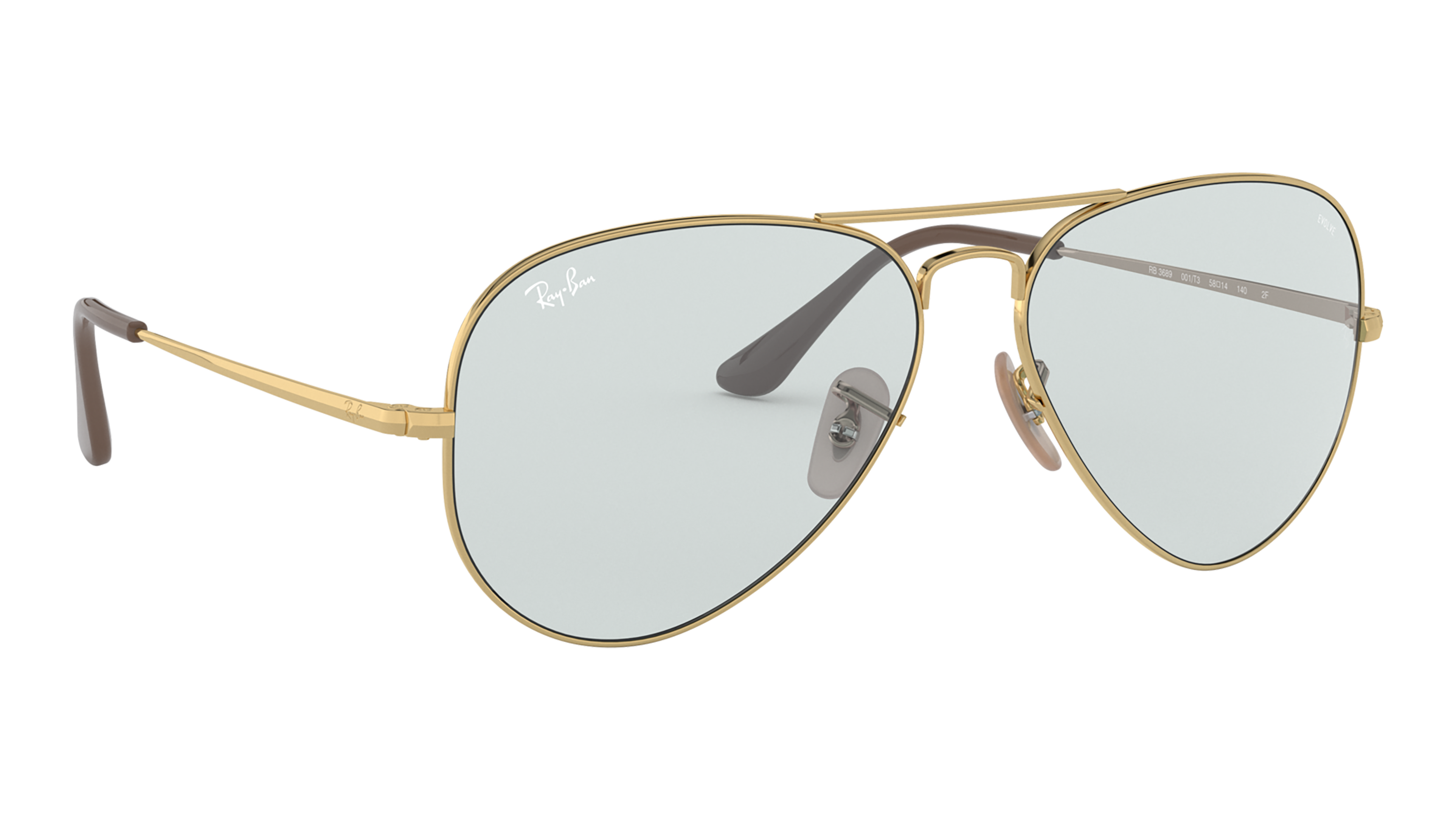 Angle_Right02 Ray-Ban Ray-Ban 0RB3689 001/T3 58/14 Goud/Blauw