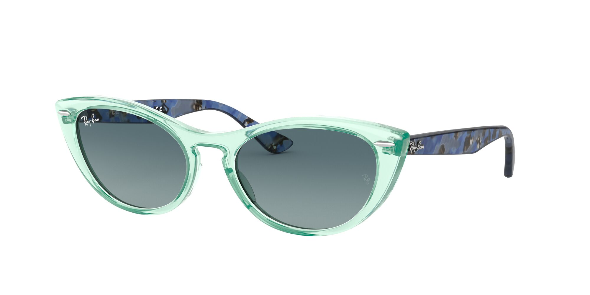 Angle_Left01 Ray-Ban Ray-Ban 0RB4314N 12853M 53/18 Transparant, Groen/Blauw