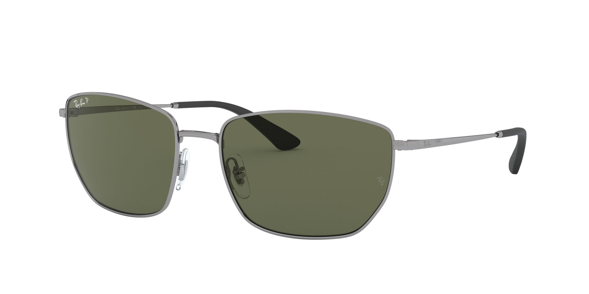 Angle_Left01 Ray-Ban Ray-Ban 0RB3653 004/9A 60/18 Zilver/Groen