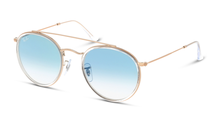 Angle_Left01 Ray-Ban Ray-Ban 0RB3647N 90683F 51/22 Zilver, Transparant/Blauw