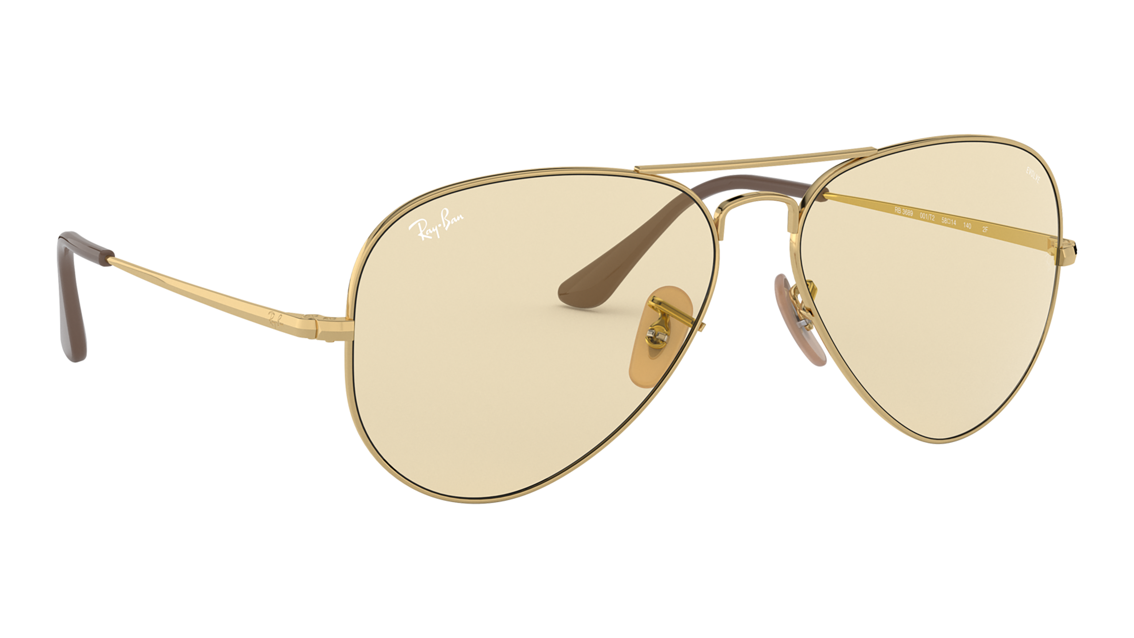 Angle_Right02 Ray-Ban Ray-Ban 0RB3689 001/T2 55/14 Goud/Bruin